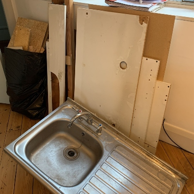 kitchen sink and cabinets