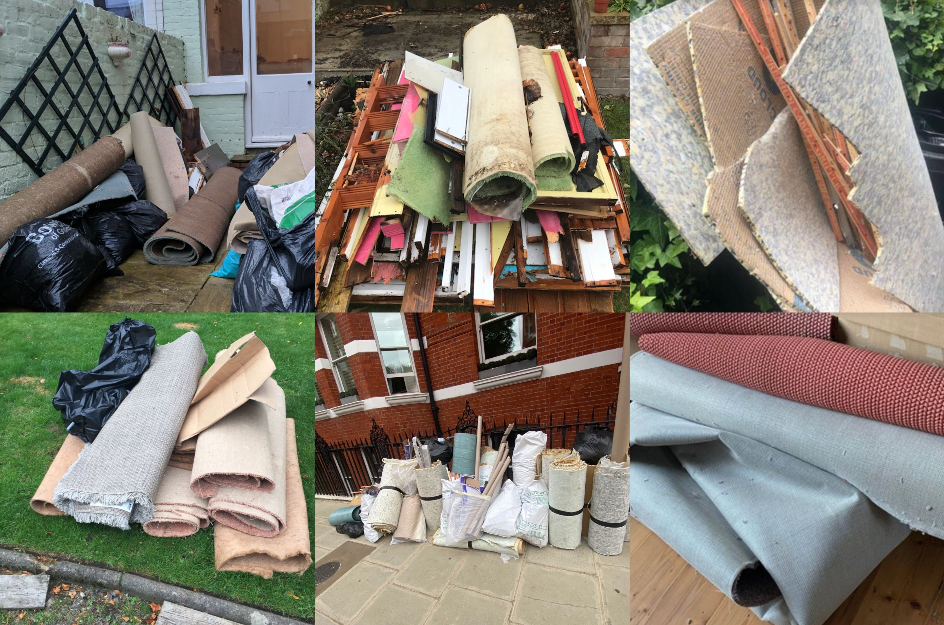 collage of carpets ready for collection and disposal how to dispose of carpets lovejunk