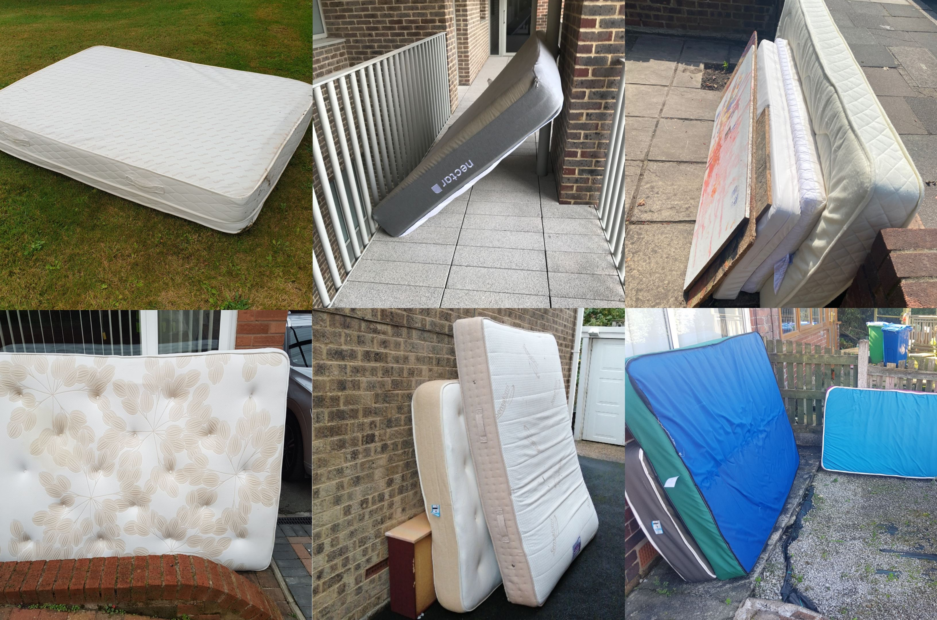 collage of mattresses