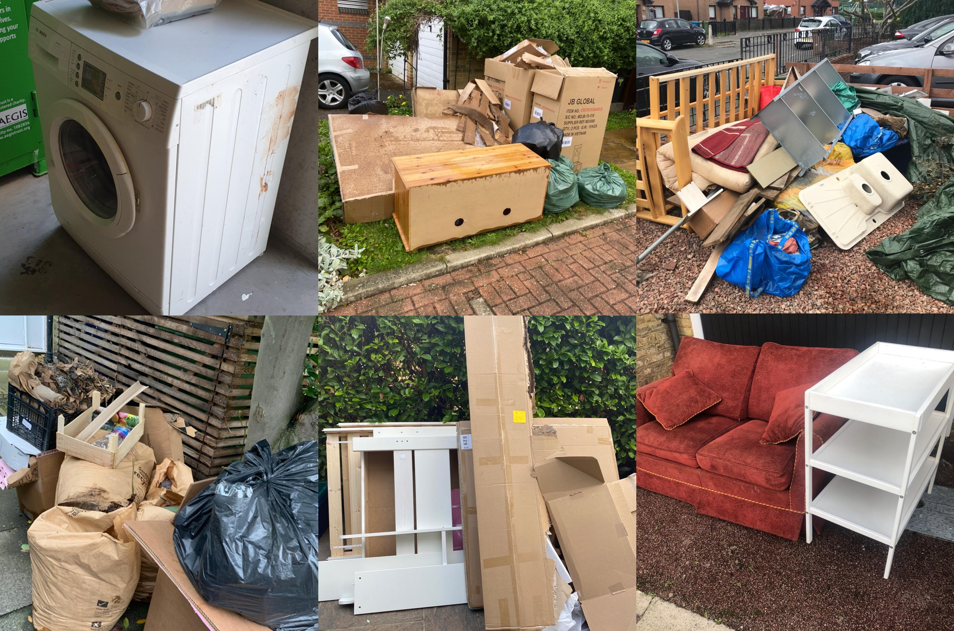 collage of rubbish to be diposed of rubbish removal and collection lovejunk