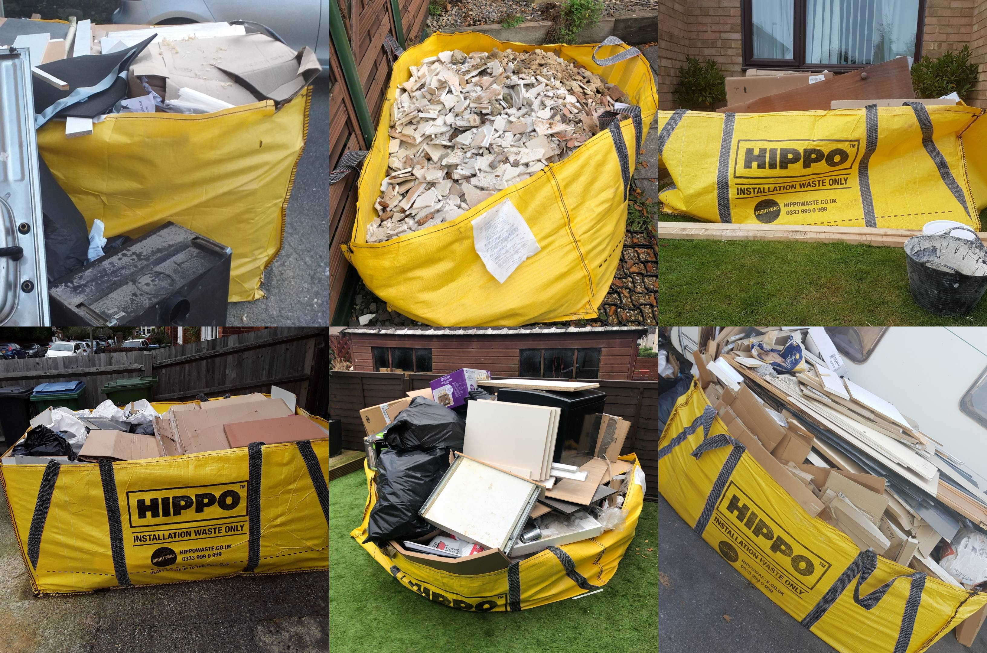 collage of skip bags hippobags for removal collection and disposal