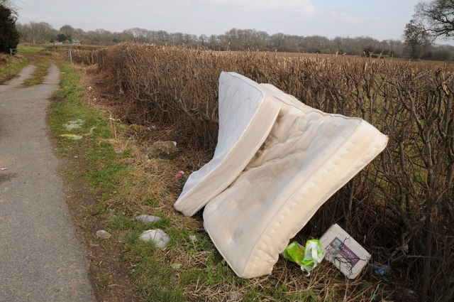 flytipping side of road mattress