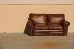 old brown leather sofa