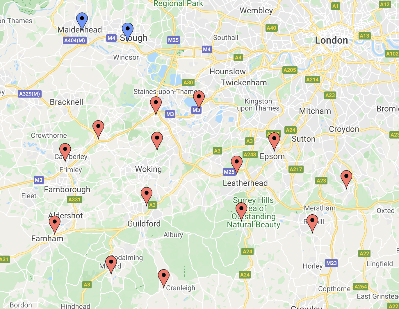 map of civic amenity hwrc the tip in surrey maidenhead and windsor