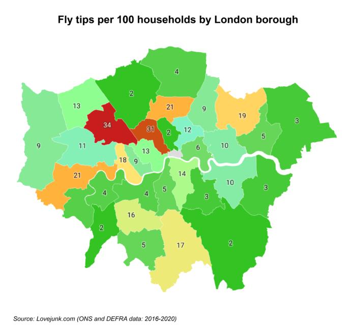 london flytipping per borough map