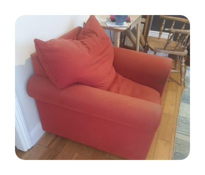 One red armchair disposal in london cost £30