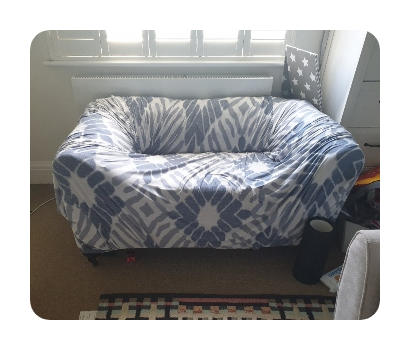 small 2 seater blue sofa from lovejunk online marketplace to be taken away for reuse or disposal £40