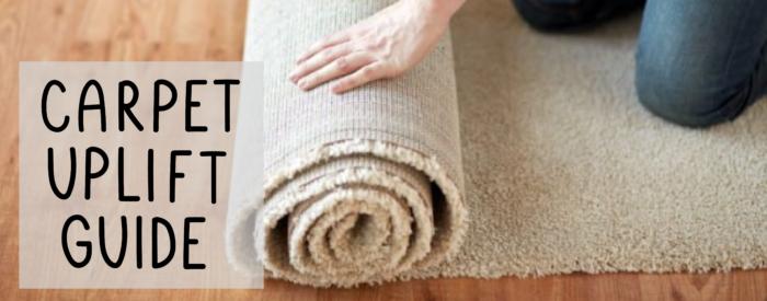 woman rolling carpet carpet uplift guide