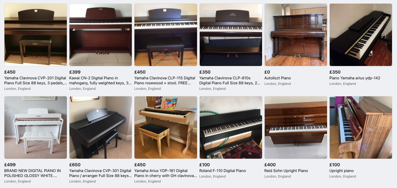 pianos listed for sale on facebook marketplace