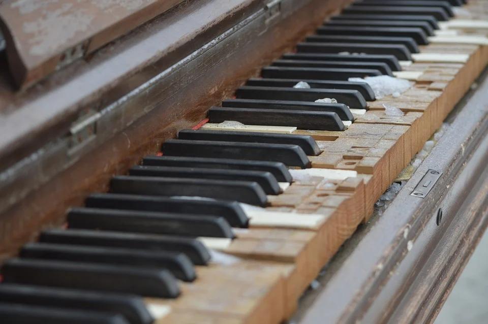 old damaged piano