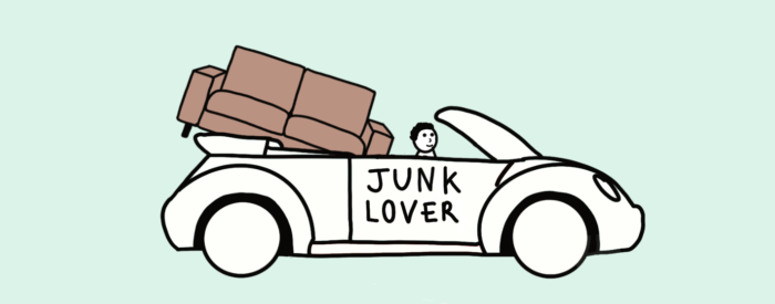 free sofa reuse by JunkLover in car