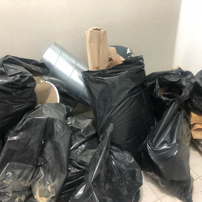 bagged rubble & carboard for collection
