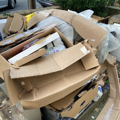 household bulky waste, polystyrene and cardboard