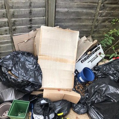 garden waste and boxes