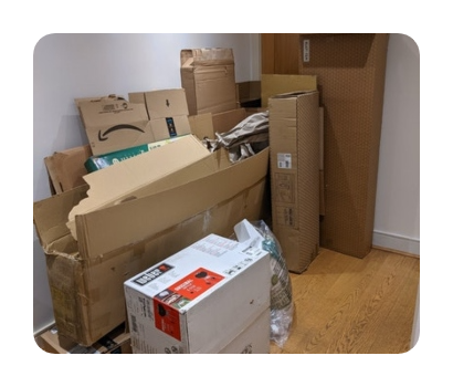 cardboard and packaging ready for recycling