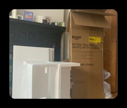 flattened cardboard boxes and polystryene