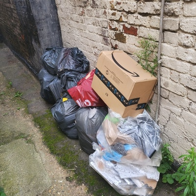 rubbish bags and brown waste